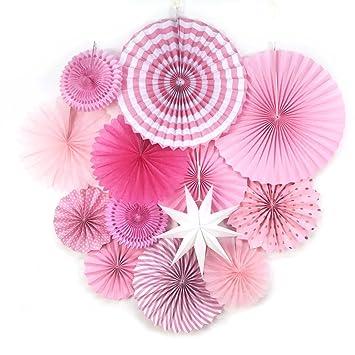 Sunbeauty 13er Set Papier Facher Dekoration Rosa Babyshower