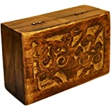 Solid Wooden Tree of Life Carved Trinket Box 15 cm