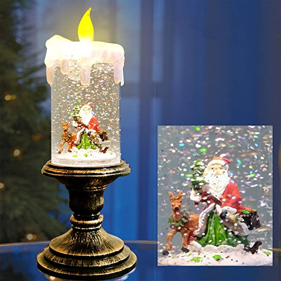 Wondise Christmas Flameless Candle Snow Globe Battery Operated Santa 10 Inches Swirling Water Glittering Lighted Snow Globe Candlestick Thanksgiving Christmas Decoration