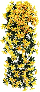 MSKW Artificial Flower Rattan Hanging Rattan, 4Pcs Artificial Rattan Small Lily Flower, Used for Wedding Family Wall Garden Decoration 0508 (Color : Yellow)