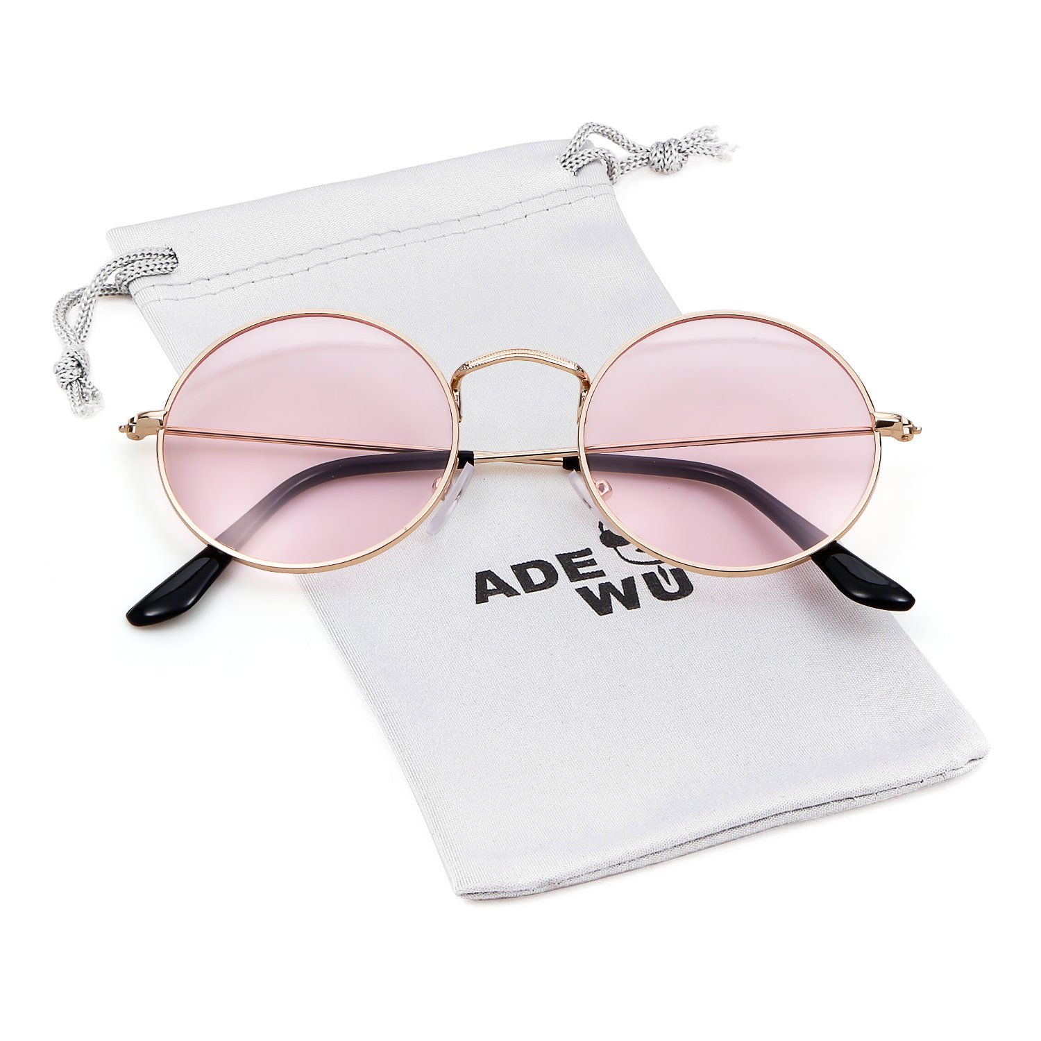 ADEWU Round Sunglasses Vintage Street Style Eyewear with Thin Metal Rim Men Women
