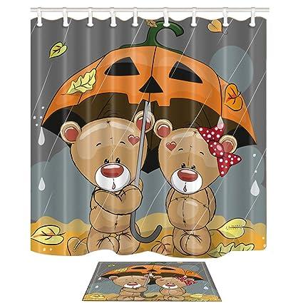 KOTOM Animal cortinas y esteras de baño para baño, dibujos animados osos Amor con un