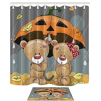 KOTOM Animal cortinas y esteras de baño para baño, dibujos animados osos Amor con un paraguas ...