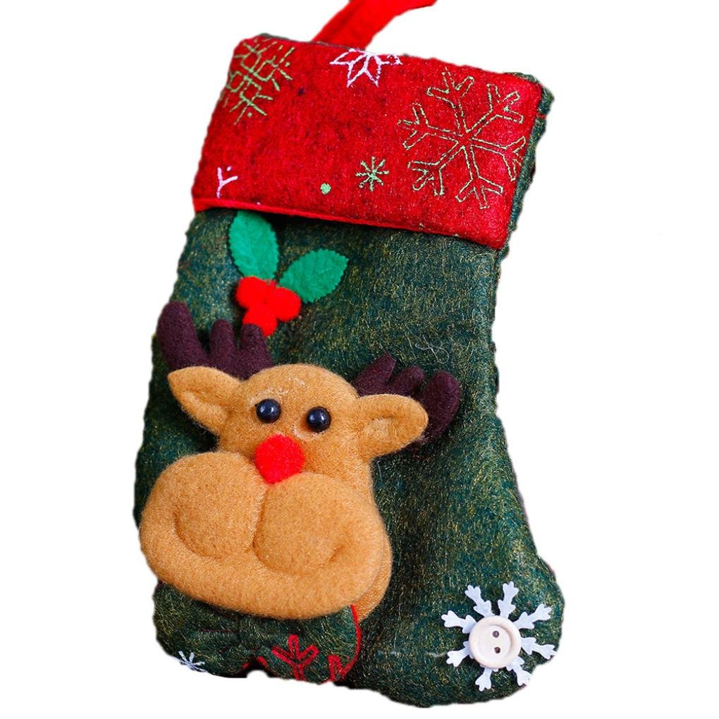 Paymenow Women's Santa Claus Snowman Elk Xmas Christmas Gift Bag Decoration Socks Decors (DD)