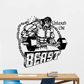 Gym Wall Decal Unleash The Beast Motivational Fitness Vinyl Sticker Inspirational Decor Motivation Quote