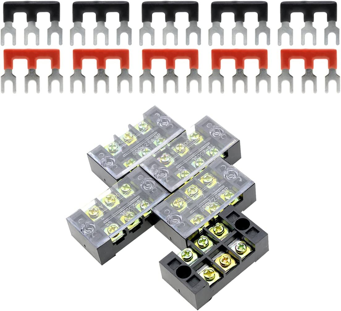 ZXHAO TB-1503 3 Position Double Row Screw Terminal Strip and 600V 15A Double Rows Covered Barrier Screw 10pcs
