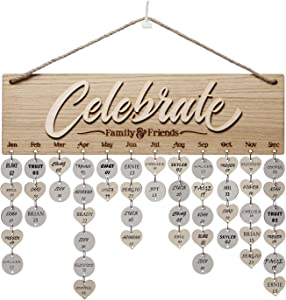 Weenca 3D Oak Veneer Wall Hanging Family & Friends Birthday Calendar with Tags Rustic Wall Decor Easy to Assemble for Mom & Family Lovely Wall Decor for Sweet Home (Celebrate)