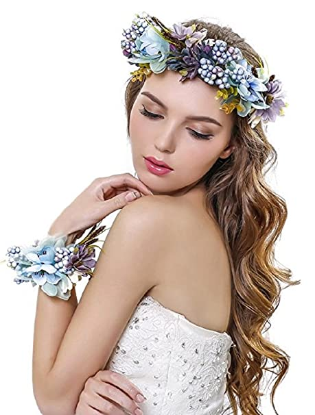 C☯H Mujer Niña corona de flores corona flores diadema con banda de muñeca  conjunto 6123ec33d7e3