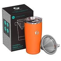 Coffee Gator Kaffeemaschine für unterwegs – All-in-One papierloser Kaffeefilter – 15.5 oz – Vakuum-Thermobecher mit Mikro-Sieb-Filter & Verriegelungsdeckel