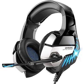 ONIKUMA - Auriculares para Videojuegos para PS4, Sonido Envolvente, Cascos con micrófono, luz LED, para Xbox One, Ordenador, portátil, Mac: Amazon.es: Electrónica