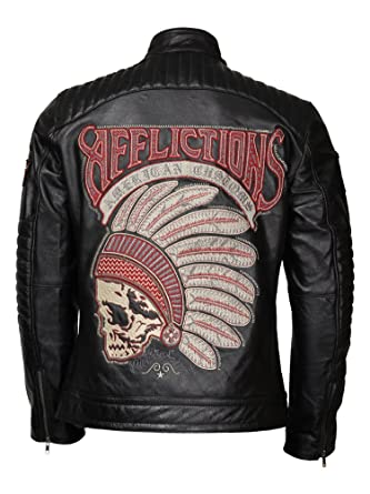 95b383171 Leather Jacket Seller Mens Affliction Black Skull Fatal Hour Leather ...