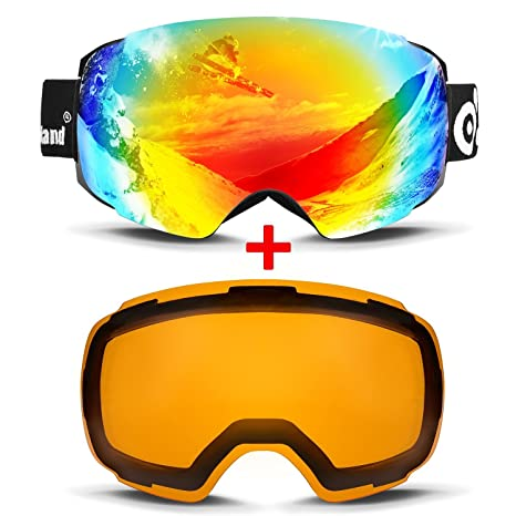 89ba1aedfc7e Amazon.com   Odoland Magnetic Interchangeable Ski Goggles with 2 ...