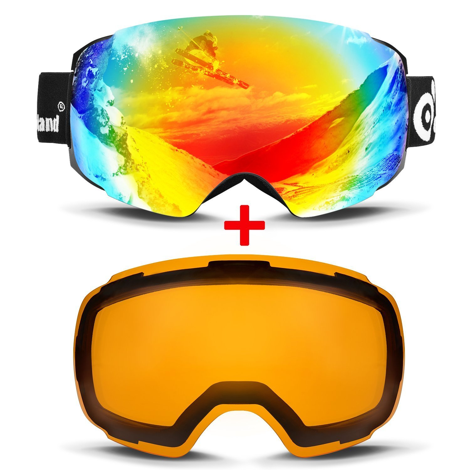 Odoland Magnetic Interchangeable Ski Goggles with 2 Lens, Large Spherical Frameless Snow Goggles for Men & Women, OTG and UV400 Protection by Odoland