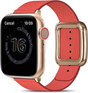 MARGE PLUS Compatible with Apple Watch Bands SE Series 6 5 4 40mm 44mm / Series 3 2 1 38mm 42mm for Men Women, Soft Leather Replacement with Magnetic Clasp for Apple Watch Band - Red/Rose Gold