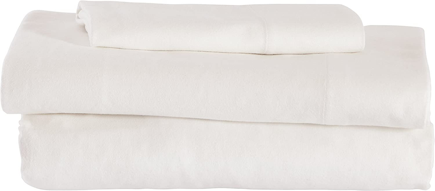 Amazon Brand – Stone & Beam Rustic Solid 100% Cotton Flannel Bed Sheet Set, Twin, White