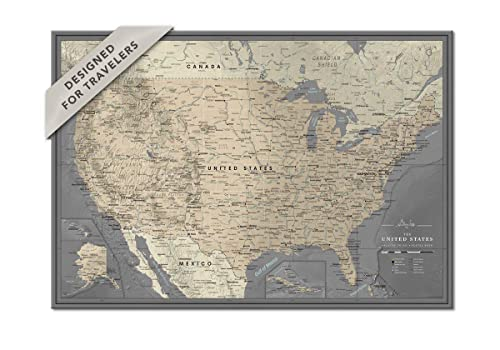 Personalized Us Traveler Map Amazon.com: US Wall Map Pin Board on Canvas | Personalized US