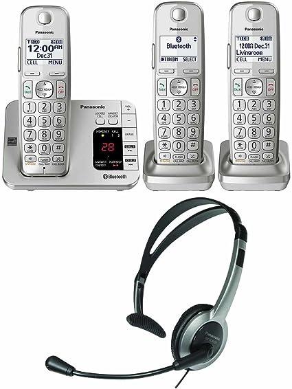 Panasonic kx-tge463s link2cell Bluetooth teléfono inalámbrico con contestador automático máquina 3 Terminales + KX-TCA93 auricular con micrófono: Amazon.es: Electrónica
