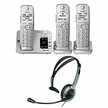 Panasonic kx-tge463s link2cell Bluetooth teléfono inalámbrico con contestador automático máquina 3 Terminales + KX-TCA93 auricular con micrófono: Amazon.es: ...