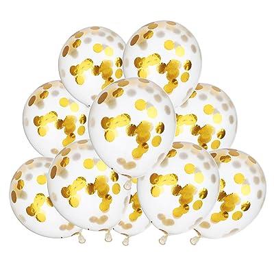 10 Pièces 12 Pouces Ballons Confettis d'Or Ballon