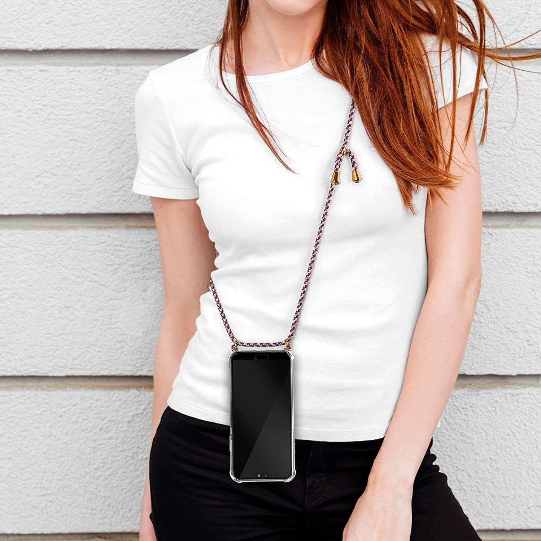 Carcasa con Cuerda para Xiaomi Mi Note 10 Lite Silicona Transparente Moda y Practico Ultrafina Suave TPU Funda de movil con Colgante Anti-rasgu/ños Anti-Choque - Rojo