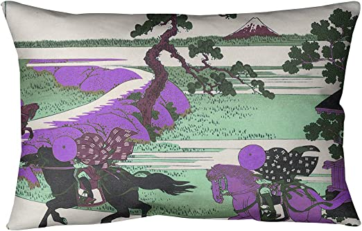 ArtVerse Katsushika Hokusai 14 x 20 Spun Polyester Cherry Trees in Blue Orange and Gold Pillow