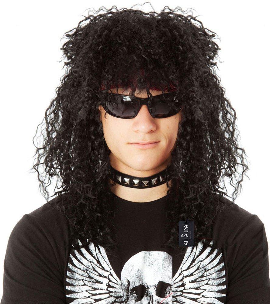 ALLAURA 80's Rocker Wig Men Slash KISS Rockstar Black Costume Wigs | Fits Women & Kids