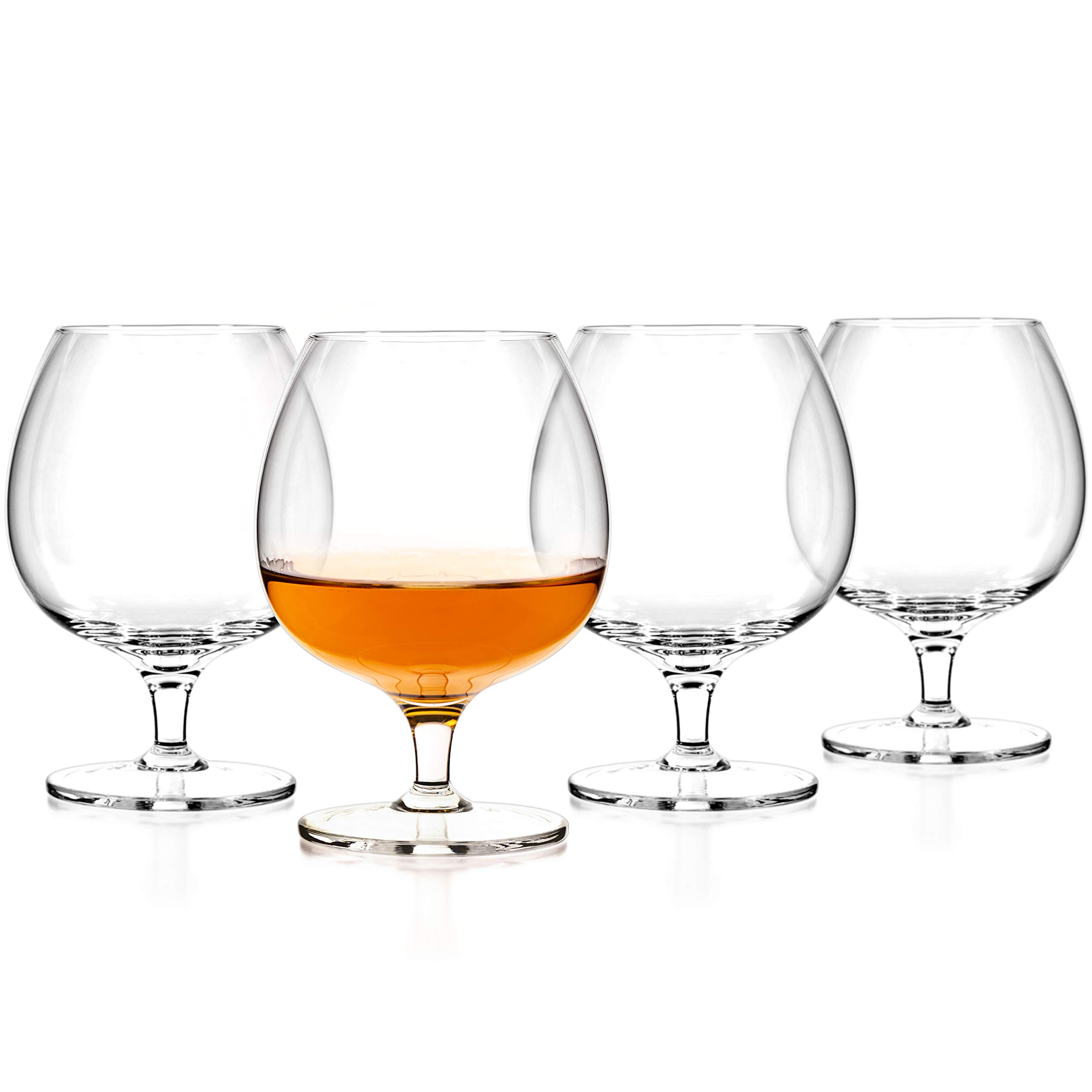 Luxbe - Cognac & Brandy Crystal Small Glasses Snifter, Set of 4 - Handcrafted - 100% Lead-Free Crystal Glass - Great for Spirits Drinks - 12-ounce