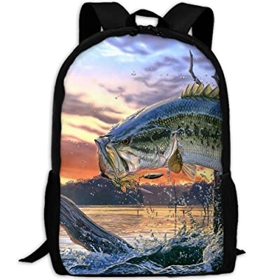 ZQBAAD Bass Fish Jumping Luxury Print Men And Women's Travel Knapsack