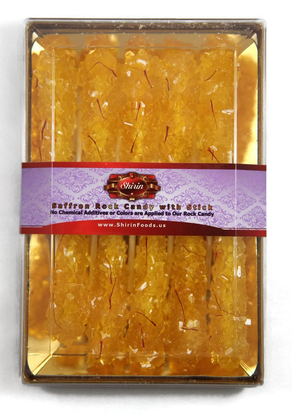 SHIRIN Saffron Rock Candy with Stick(10 Sticks),250 Grams((9 OZ)