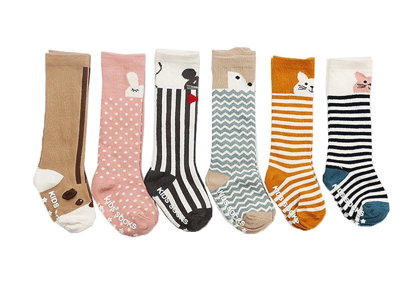 JT-Amigo - Calzini Calzettoni al Ginocchio Antiscivolo - Bambini e Neonati - Confezione da 6 Paia Kids-Sock-Set7