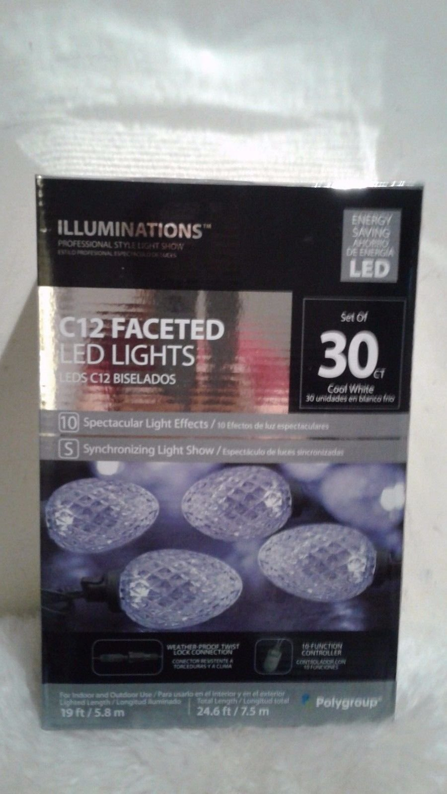 Illuminations 30-Count 19 ft Multi-Function Cool White C12 LED Light Show Indoor/Outdoor Christmas String Lights