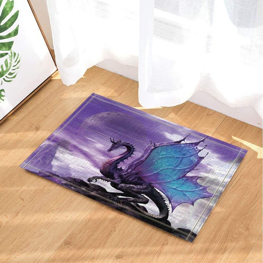 Cdhbh m/édi/éval Th/ème Fantastique Violet Dragon Tapis de Bain antid/érapant Paillasson Tapis de r/éception Int/érieur Porte Avant de Sol Enfants Tapis de Bain 15,7/x de Accessoires de Salle de Bain
