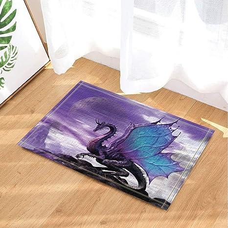 Cdhbh Medieval Theme Fantastique Violet Dragon Tapis De Bain