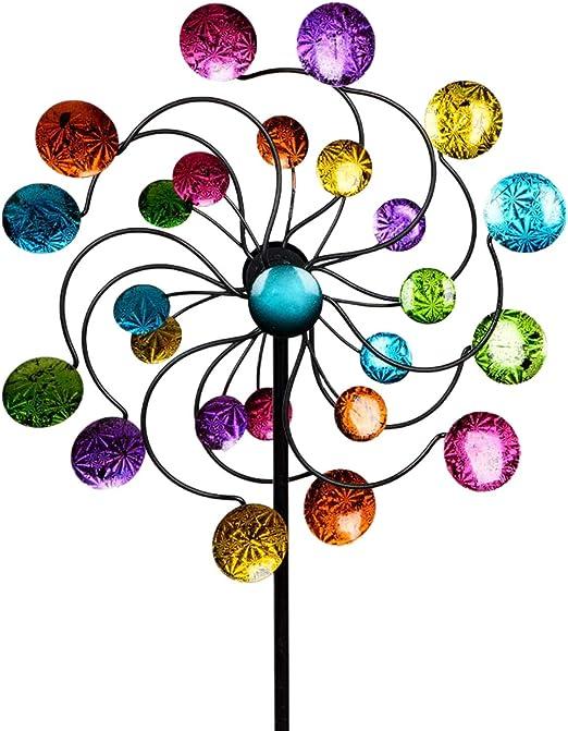dekojohnson – Molinillo de Viento para el jardín de Metal – Molino de Viento Doble Lila/Azul/Rojo/Verde – 126 cm Grande: Amazon.es: Jardín