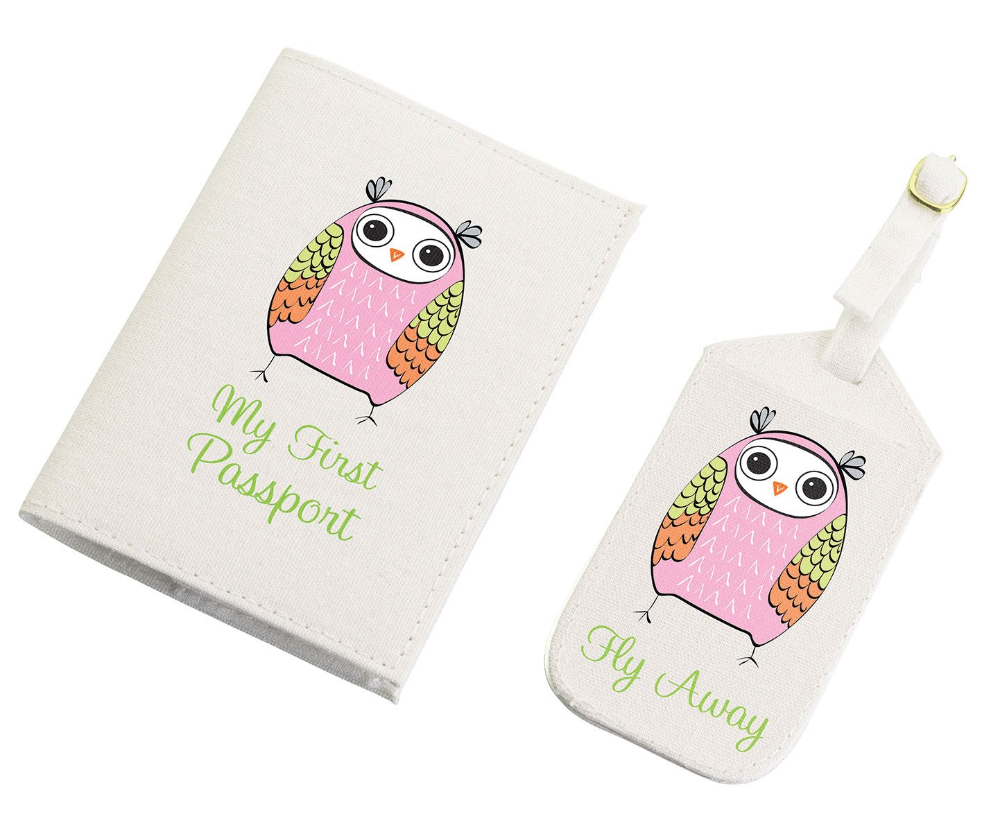 """Lillian Rose Luggage Tag and Passport, Pink/Owl, 6.75"""" x 5.75"""""""