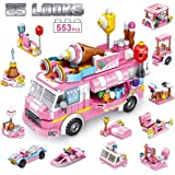 PANLOS STEM Educational Learning Building Bricks Toy 553 Pieces Ice Cream Car Set Vehicles Gifts for Kids Girls Tight Fit and
