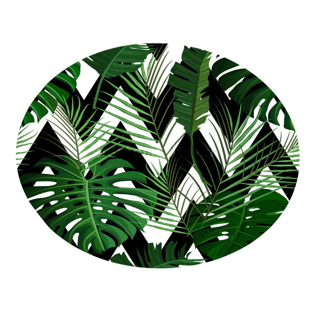 Carpet Hallway Doormat Rugs- Tropical Planting Leaves Printed Round Flannel Non-Slip Carpet Absorb Water Kitchen Bathroom Mat Beautifully Decorated Rug,Children's Room Comfortable Carpet(100cm)