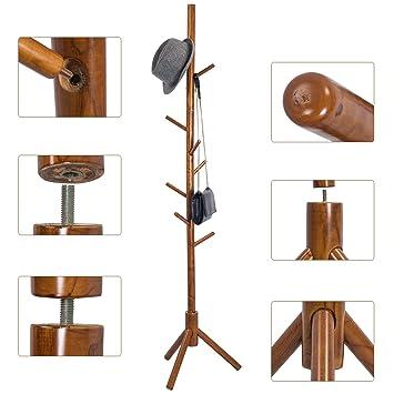 Attraktiv TOP MAX Holz Kleiderständer 9 Haken Garderobenständer Gestell Aufhänger  175cm Höhe Mit Schlafzimmer Flur(