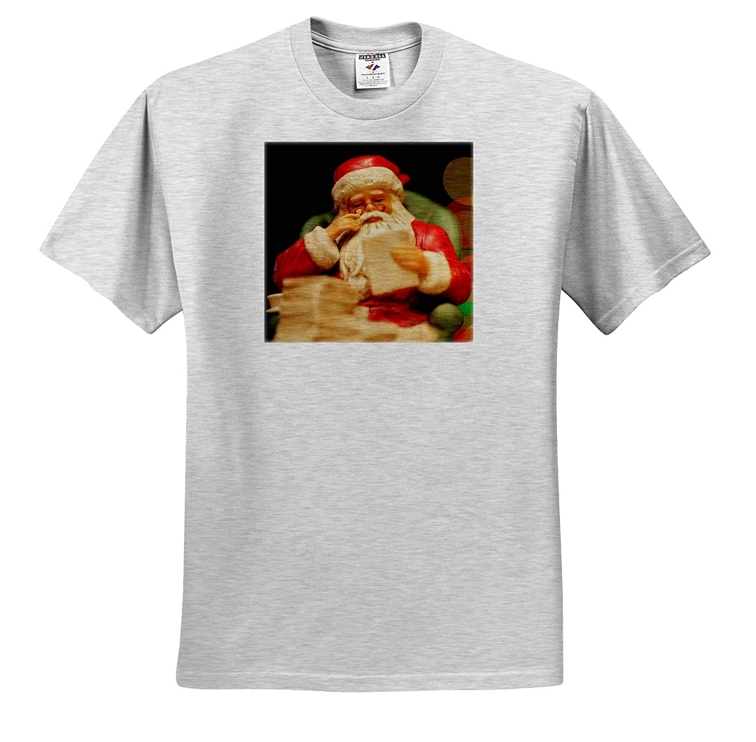 - T-Shirts Checking his List 3dRose Stamp City Photograph of a Ceramic Santa Sitting in his Chair Holiday