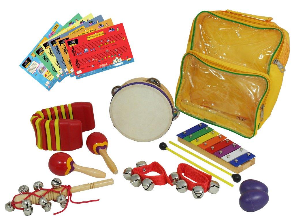 D'Luca LT7 Percussion with Glockenspiel, Tambourine, Maracas, Egg Shakers, Wrist Bells & Jingle Stick, 7 Pack