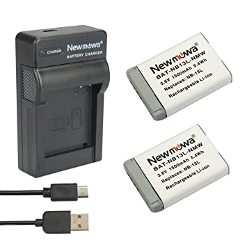 Newmowa Batería de Repuesto (2-Pack) y Kit de Cargador para Micro USB portátil para Canon NB-13L, PowerShot G5X, G7X, G7 X Mark II, G9X, G9 X Mark II, ...