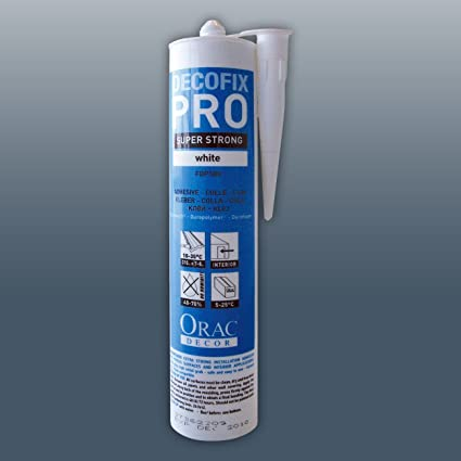 Orac Decor FDP500 DecoFix Pro Adhesivo acrílico Cartucho de 310 ml Adhesivo de instalación para molduras