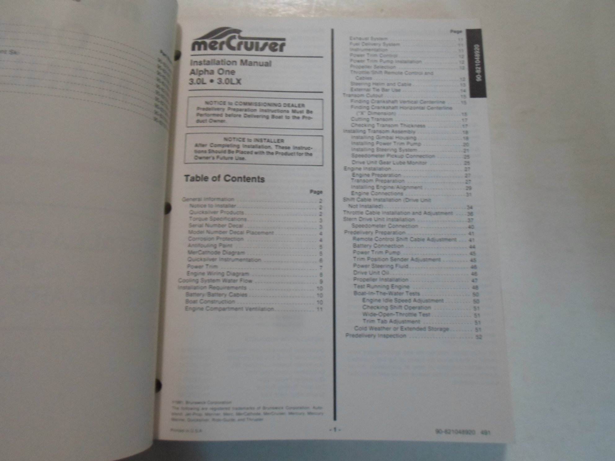 Alpha One Trim Wiring Diagram 1992 Mercruiser Installation Drawings For Standard Products Oem Manual Stained Brunswick Corporation Books