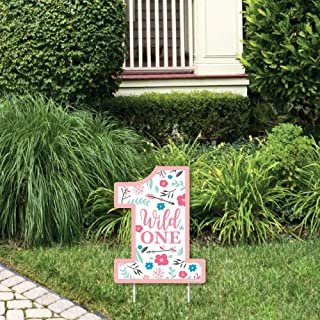 product image for Big Dot of Happiness She's a Wild One - Outdoor Lawn Sign - Boho Floral 1st Birthday Party Yard Sign - 1 Piece
