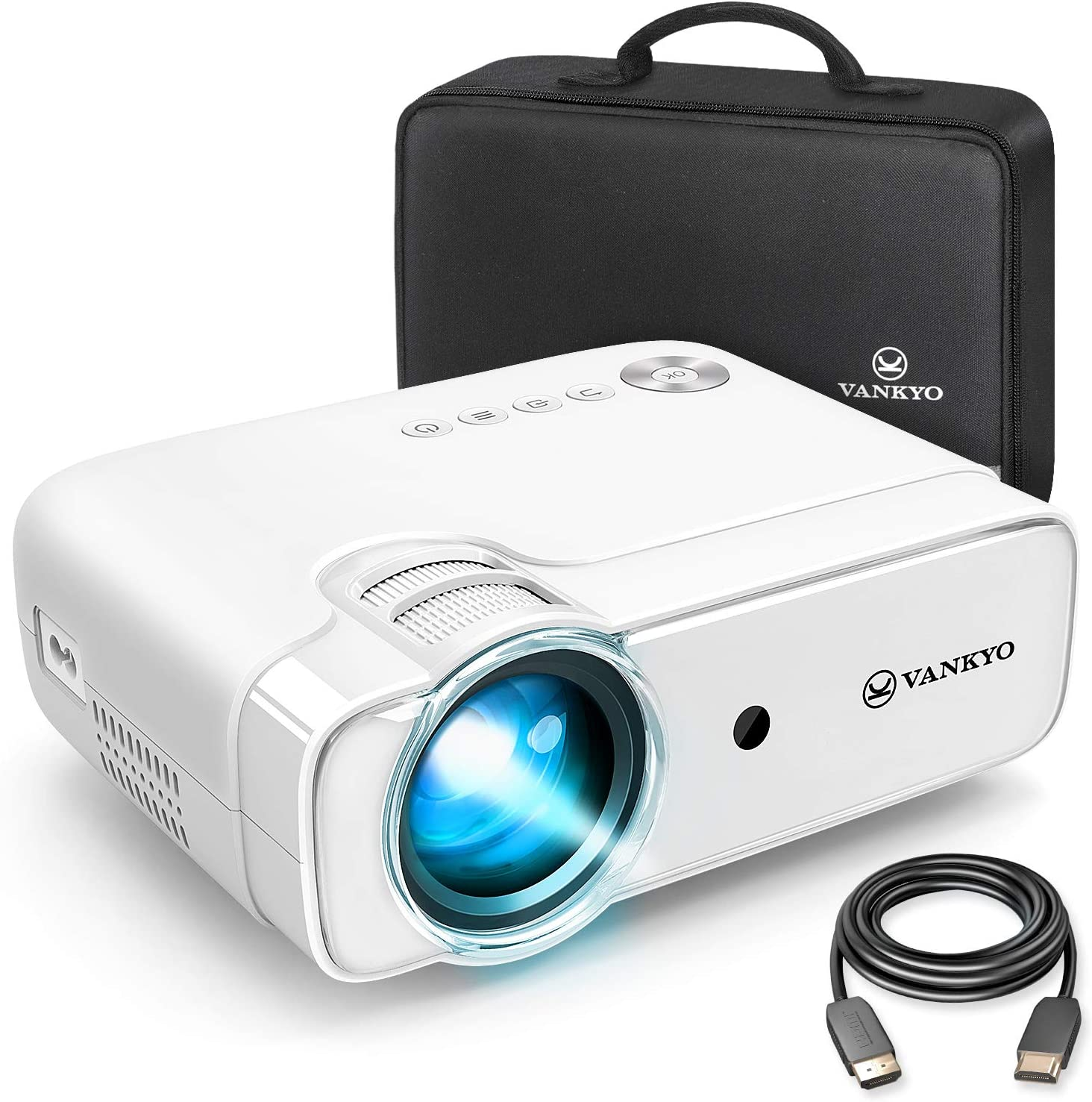 "VANKYO Leisure 430 Mini Movie Projector, 3600 Lux Video Projector with 50,000 Hours LED Lamp Life, 236"" Display, Support 1080P, HiFi Built-in Speaker, Compatible with TV Stick, HDMI, SD, AV, VGA, USB"
