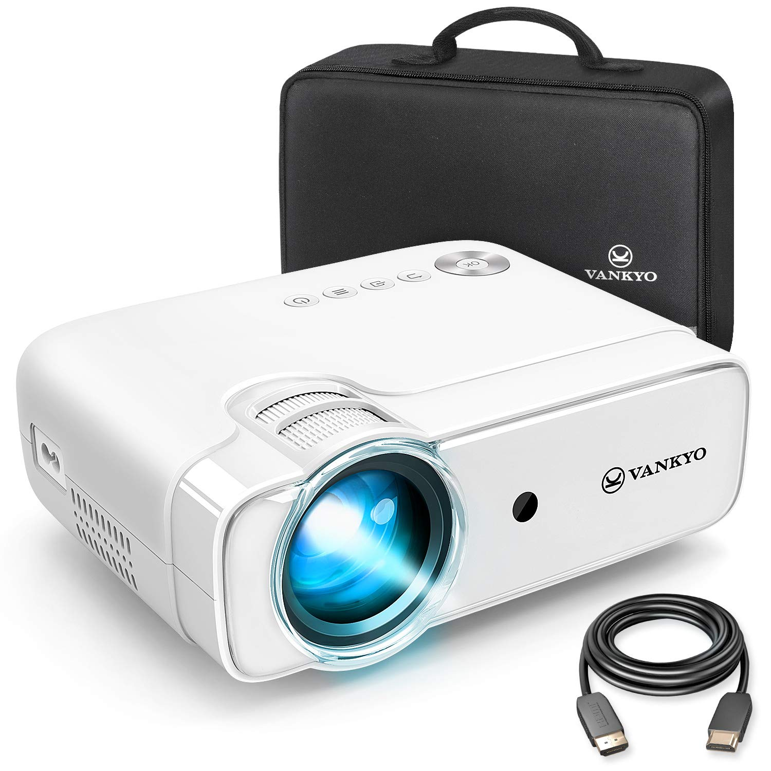 VANKYO Leisure 430 Mini Movie Projector, 3600 Lux Video Projector with 50,000 Hours LED Lamp Life, 236'' Display, Support 1080P, HiFi Built-in Speaker, Compatible with TV Stick, HDMI, SD, AV, VGA, USB by vankyo