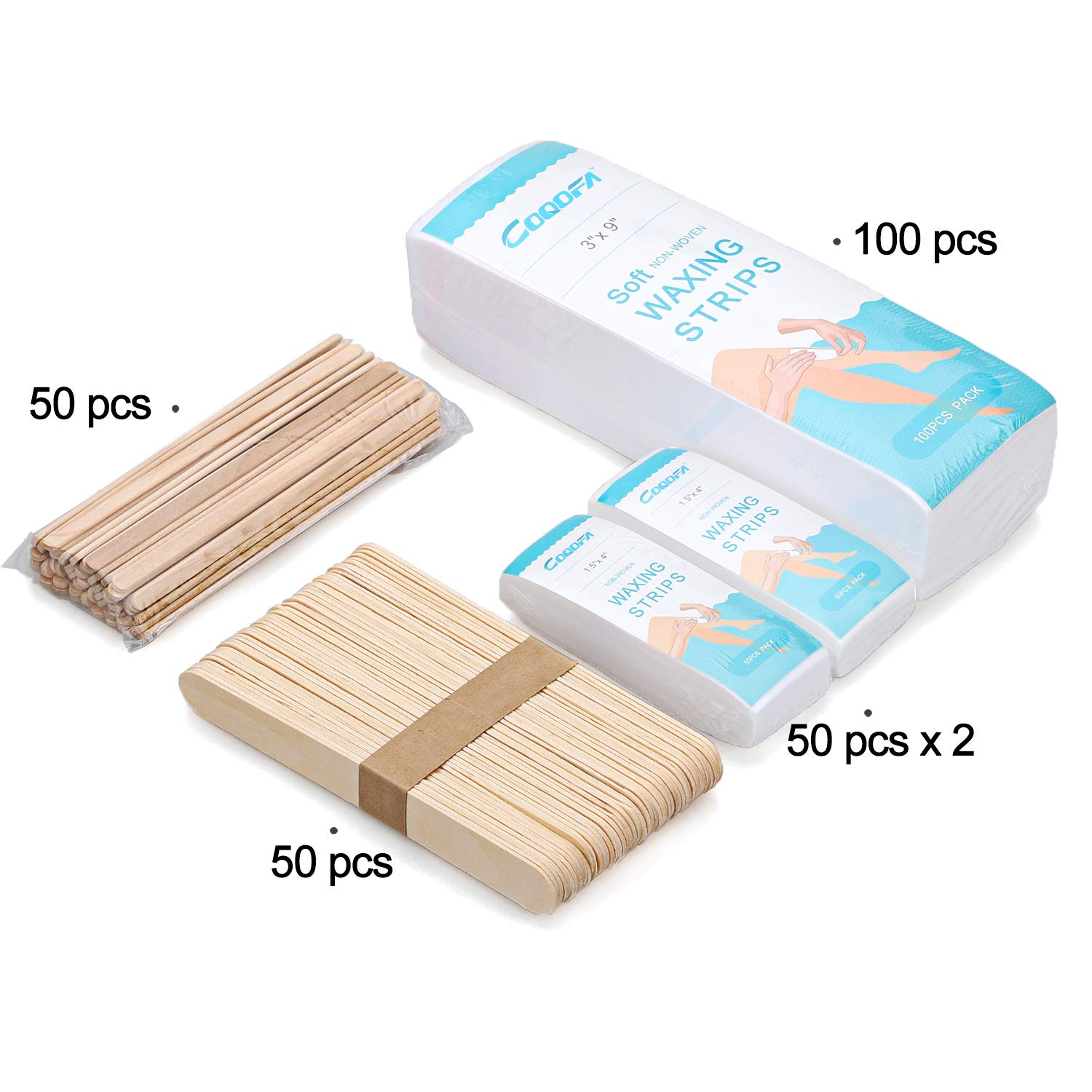 200 Pieces Non-Woven Hair Removal Wax Strips, Facial and Full Body Size (100 Large, 100 Small) & 100 Pieces Wooden Wax Applicator Sticks (50 Large, 50 Small)
