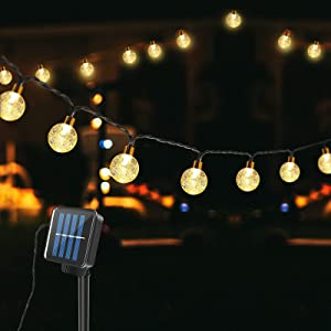 Techip Solar String Light 60LED 36FT Globe Crystal Balls String Lights Outdoor Indoor Waterproof for Garden Yard Home Party Wedding Christmas Decoration