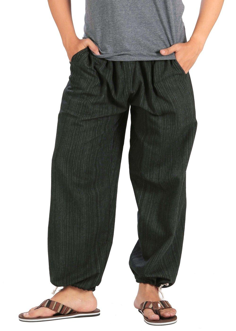 CandyHusky Pin Stripes Cotton Joggers Pajama Yoga Pants Elasticed Waist Drawstring (Black)