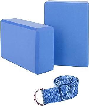 set da 2 blocchi da yoga in sughero naturale Kenji per principianti ed esperti con cintura da yoga da 2,5 m
